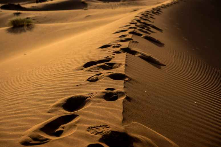 sand dune with foot prints